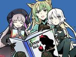 3girls ahoge alice_in_wonderland animal_ears archer_of_red assassin_of_black belt black_dress black_gloves black_hat blonde_hair blue_background book cat_ears claws commentary_request dress elbow_gloves english eyes_closed fate/grand_order fate_(series) frills gloves green_eyes green_hair grey_eyes hat holding holding_book long_hair multicolored_hair multiple_girls nursery_rhyme_(fate/extra) open_book open_mouth reading scar scar_across_eye short_hair sleeveless smile snow_white snow_white_and_the_seven_dwarfs thighhighs white_hair yuuma_(u-ma)