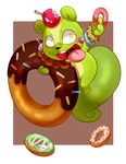 2016 3_fingers anthro apple biped bite_mark black_nose blush brown_background buckteeth candy candy_apple chest_tuft chinese chocolate curled_tail digital_drawing_(artwork) digital_media_(artwork) doughnut featureless_crotch food fruit fur gaping_mouth green_fur green_tail happy_tree_friends holding_food holding_object kemono lollipop long_tail looking_up male mammal mismatched_pupils multicolored_fur nude nutty_(htf) open_mouth open_smile pink_tongue rodent simple_background smile solo sprinkles squirrel suspended_in_midair tan_fur teeth tongue tuft two_tone_fur uvula white_background 迷途貓