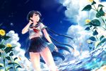 1girl bangs banned_artist black_hair blue_skirt dutch_angle eyebrows_visible_through_hair fish floating_hair flower goldfish hand_up kyara36 long_hair looking_to_the_side neckerchief ocean original outdoors parted_lips pleated_skirt red_neckerchief school_uniform serafuku shochuumimai short_sleeves skirt solo standing summer sunflower thighs very_long_hair wading wind