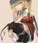 1girl ascot banned_artist beige_background belt black_boots black_legwear blonde_hair boots fang flandre_scarlet hair_ribbon high_heels long_hair looking_at_viewer miniskirt open_mouth red_eyes red_ribbon red_skirt ribbon short_sleeves side_ponytail simple_background skirt skirt_set smile solo squatting thighhighs touhou very_long_hair wings zairen