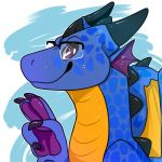 2019 blue_scales claws digital_media_(artwork) dragon eyewear frill glasses horn looking_at_viewer low_res male orange_scales purple_eyes reptifriend_(artist) scales scalie scutes smile sokyran solo v_sign wings