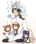 1boy 4girls 6+others admiral_(kantai_collection) akatsuki_(kantai_collection) animal_ears black_hair black_legwear black_sailor_collar black_skirt brown_eyes brown_hair cat_ears cat_tail failure_penguin flat_cap folded_ponytail hair_ornament hairclip hammer_and_sickle hat hibiki_(kantai_collection) highres ikazuchi_(kantai_collection) inazuma_(kantai_collection) kantai_collection kemonomimi_mode long_hair military military_uniform miss_cloud multiple_girls multiple_others naval_uniform neckerchief nonono_(mino) o_o on_head one_eye_closed pantyhose peaked_cap person_on_head pleated_skirt red_neckwear sailor_collar school_uniform serafuku short_hair silver_hair simple_background skirt tail tail_wagging thighhighs uniform verniy_(kantai_collection) white_background white_hat