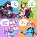 4girls armor blonde_hair blue_background blue_eyes blue_hair breasts cape crown dress earrings english_text eyebrows fire_emblem fire_emblem:_kakusei frogbians green_background green_eyes green_hair jewelry kid_icarus kid_icarus_uprising long_hair looking_at_viewer lucina mario_(series) matching_hair/eyes metroid mole mole_under_mouth multiple_girls nintendo open_mouth orange_background palutena parted_lips ponytail purple_background rosetta_(mario) samus_aran simple_background smile stitched super_mario_bros. super_mario_galaxy sword third-party_edit tiara tied_hair weapon