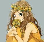 1girl bare_arms bare_shoulders blue_background blue_eyes blush bouquet brown_hair dress flower from_side highres holding holding_bouquet long_hair original sako_(user_ndpz5754) simple_background sitting smile wreath yellow_dress