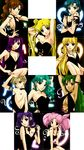 aino_minako aqua_hair argyle_cutout armpits arms_behind_head arms_up backless_dress backless_outfit bishoujo_senshi_sailor_moon black_dress black_ribbon blonde_hair blue_eyes blue_nails breasts brown_hair center_opening character_name chibi_usa cleavage crossed_arms cutout dress earrings green_eyes green_hair green_nails halterneck head_tilt high_ponytail highres hino_rei jewelry kaiou_michiru kino_makoto long_hair looking_at_viewer medium_breasts meiou_setsuna mizuno_ami multiple_girls nail_polish open-back_dress parted_lips pink_hair purple_eyes purple_hair red_eyes ribbon sarashina_kau short_hair short_sleeves sideboob sitting small_breasts strapless strapless_dress tattoo ten'ou_haruka ten'ou_haruka tomoe_hotaru tsukino_usagi twintails very_long_hair