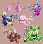 :d animon brown_background claws creature creatures_(company) cubicflan ditto english eye_contact eyes_closed fangs fish game_freak gen_1_pokemon grin happy highres horn horns jaranra looking_at_another looking_at_viewer monja nintendo no_humans one-eyed open_mouth plucks_(pokemon) pokemon pokemon_(creature) pokemon_(game) pokemon_gsc pokemon_gsc_beta porygon2_(beta) shibirefugu simple_background smile sprites wataneko