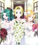 3girls :d alternate_costume alternate_hairstyle bare_shoulders blonde_hair blue_eyes blurry bouquet bow braid breasts celes_chere church cleavage closed_mouth collarbone depth_of_field door dress elbow_gloves eyebrows_visible_through_hair eyes_visible_through_hair facing_viewer final_fantasy final_fantasy_vi flower french_braid frilled_gloves frilled_sleeves frills gloves hair_bow hair_flower hair_intakes hair_ornament high_ponytail highres holding holding_bouquet indoors jewelry large_breasts leaf light_particles lily_(flower) lips long_hair looking_at_viewer multiple_girls necklace open_mouth orange_rose pearl pearl_necklace pink_lips pink_rose puffy_short_sleeves puffy_sleeves red_rose relm_arrowny rose short_hair short_sleeves smile sparkle stairs strapless strapless_dress take_your_pick tina_branford tongue wedding_dress white_bow white_choker white_dress white_gloves window yuuri_(kazuya1008)