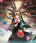 1girl bouquet brown_eyes brown_hair butterfly flower holding holding_bouquet holding_flower jewelry kazu_(muchuukai) looking_at_viewer necklace nun original solo tree