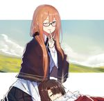 1boy 1girl :d bespectacled brown_hair capelet collared_shirt commander_(girls_frontline) dress_shirt echj eyebrows eyebrows_visible_through_hair finger_to_mouth flush girls_frontline glasses green_eyes hair_between_eyes hair_ornament hair_scrunchie lap_pillow long_hair long_sleeves looking_at_viewer m1903_springfield_(girls_frontline) neck_ribbon one_eye_closed open_mouth pleated_skirt ribbon scrunchie shawl shirt shushing sketch skirt sleeping smile solo tied_hair upper_body wing_collar