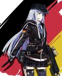 alternate_costume assault_rifle belt belt_pouch black_legwear collar combat_knife cowboy_shot dual_wielding earphones echj facial_tattoo flag_background german_flag girls_frontline gun hat headpiece heckler_&_koch highres hk416 hk416_(girls_frontline) knife load_bearing_equipment long_hair looking_to_the_side magazine_(weapon) mask necktie plaid plaid_skirt pleated_skirt pouch rifle scope silver_hair sketch skirt tattoo thighhighs very_long_hair visor weapon yellow_eyes