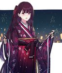 1girl :o bangs blunt_bangs blush echj eyebrows_visible_through_hair fireworks floral_print girls_frontline hair_ribbon hakama japanese_clothes kimono long_hair long_sleeves looking_at_viewer obi one_side_up open_mouth purple_hair red_eyes ribbon sash sketch sky solo star_(sky) starry_sky upper_body very_long_hair wa2000_(girls_frontline) wide_sleeves