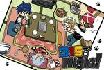 3boys :d blue_hair bowl cat chopsticks enjouji_michiru from_above green_hair hotpot idolmaster idolmaster_side-m kizaki_ren knitting_needle kotatsu male_focus manga_(object) multiple_boys needle open_mouth pan_chira ponytail rice silver_hair sleeping smile steam table taiga_takeru tatami the_kogado yarn