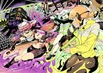 3girls aori_(splatoon) armor bike_shorts black_belt black_boots black_gloves black_hair black_shirt black_shoes black_shorts boots commentary_request constricted_pupils cosplay cousins crazy_eyes crop_top dj_takowasa dodging domino_mask dual_wielding earrings fangs fingerless_gloves food food_on_head gloves glowstick grey_hair grimace headgear hero_shot_(splatoon_2) holding holding_weapon hotaru_(splatoon) ink_tank_(splatoon) inkling jewelry long_hair long_sleeves mask midriff mole mole_under_eye monitor multiple_girls navel nib_pen_(medium) object_on_head orange_hair paint_splatter pointy_ears shirt shoes shorts splat_charger_(splatoon) splat_dualies_(splatoon) splatoon splatoon_2 squidbeak_splatoon stage standing sushi sweatdrop takano_itsuki takozonesu takozonesu_(cosplay) tattoo traditional_media weapon yellow_coat yellow_eyes yellow_vest