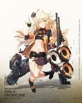 1girl ;q bangs bike_shorts black_gloves black_legwear black_shoes black_skirt blonde_hair blue_eyes blush breasts character_name closed_mouth copyright_name eyebrows_visible_through_hair fingerless_gloves full_body girls_frontline gloves gun hair_between_eyes hand_up highres holding holding_gun holding_weapon jacket kneehighs long_hair looking_at_viewer messy_hair miniskirt nin_lion one_eye_closed open_clothes open_jacket pleated_skirt rigging s.a.t.8_(girls_frontline) shoes shotgun skirt small_breasts solo sports_bra tongue tongue_out torn_clothes torn_skirt very_long_hair watermark weapon web_address