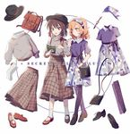 2girls aibivy alternate_costume bag bangs black_hat black_shoes blonde_hair book brown_eyes brown_hair brown_skirt closed_mouth eyebrows_visible_through_hair full_body hairband handbag hat highres holding holding_book leggings long_sleeves maribel_hearn mary_janes multiple_girls open_mouth pleated_skirt purple_legwear red_shoes satchel shoes short_hair short_sleeves sidelocks skirt socks standing touhou usami_renko walking watch white_background white_legwear wristwatch yellow_eyes