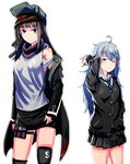 2girls ahoge black_hair blue_eyes cosplay g11_(girls_frontline) g11_(girls_frontline)_(cosplay) ghgnvm girls_frontline grey_eyes hat highres idolmaster idolmaster_cinderella_girls looking_at_viewer messy_hair multiple_girls school_uniform seiyuu_connection shibuya_rin shibuya_rin_(cosplay) shorts silver_hair skirt