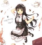 1girl :d animal_ears apron bangs black_hair black_shoes black_skirt blunt_bangs blush bolo_tie bunny_ears character_name checkerboard_cookie collared_shirt commentary cookie cup english eyebrows_visible_through_hair fake_animal_ears floppy_ears food frilled_apron frilled_shirt frilled_skirt frills full_body gochuumon_wa_usagi_desu_ka? green_eyes happy_birthday highres jumping looking_at_viewer maid_headdress mary_janes menu open_mouth puffy_short_sleeves puffy_sleeves saucer shirt shoes short_sleeves sidelocks skirt smile solo spill stick_jitb tea teapot ujimatsu_chiya underbust waist_apron white_background white_legwear white_shirt wing_collar