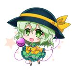 1girl :d black_hat black_shoes blush chibi commentary_request eyeball eyebrows_visible_through_hair floral_print frilled_shirt_collar frilled_skirt frilled_sleeves frills full_body green_eyes green_hair green_skirt hair_between_eyes hat hat_ribbon heart heart_of_string komeiji_koishi long_sleeves looking_at_viewer noai_nioshi open_mouth print_skirt ribbon shirt shoes skirt smile solo standing star starry_background string third_eye touhou white_background wide_sleeves wing_collar yellow_ribbon yellow_shirt