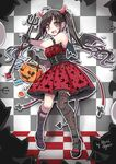 ahoge angelic_pretty arm_strap asymmetrical_legwear bangs bat black_gloves black_hair black_shoes blush brown_eyes bucket candy checkered checkered_background corset cross_print demon_horns demon_tail demon_wings dress food gloves halloween highres horns jack-o'-lantern kneehighs lolita_fashion lollipop long_hair mary_janes north_abyssor open_mouth original outline polearm print_dress red_dress scared shoes signature single_kneehigh single_thighhigh sketch sock_garters standing striped striped_legwear tail tears thighhighs trapped trident twintails vertical-striped_legwear vertical_stripes wavy_mouth weapon white_outline wings
