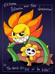 2017 absurd_res cagney_carnation crossover cuphead_(game) duo english_text flora_fauna flower flowey_the_flower hi_res male neonkalistar not_furry plant pointy_nose signature smile spikes teeth text toony undertale video_games vines