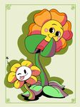 blush cagney_carnation cuphead_(game) duo flora_fauna flower flowey_the_flower neonkalistar one_eye_closed plant tongue tongue_out toony undertale video_games wink