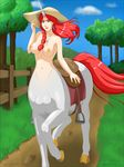 2017 5_fingers blue_sky braided_hair breasts brown_eyes centaur cloud day detailed_background digital_media_(artwork) ear_piercing equine equine_taur female fence front_view full-length_portrait fur grass hair hat hi_res horn light_skin long_hair long_tail looking_at_viewer mammal multicolored_horn navel nipples open_mouth outside phantom_inker piercing pink_nipples portrait quadruped rainbow_horn red_hair red_tail saddle sky solo taur tree unicorn url white_fur