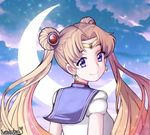 artist_name bad_id bad_pixiv_id bangs bishoujo_senshi_sailor_moon blonde_hair blue_eyes blue_sailor_collar blue_sky circlet closed_mouth cloud crescent crescent_earrings crescent_moon double_bun earrings hair_ornament highres jewelry kumaartsu long_hair looking_at_viewer looking_back moon parted_bangs sailor_collar sailor_moon sailor_senshi_uniform signature sky smile solo tsukino_usagi twintails upper_body