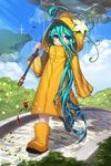 1girl :3 ahoge aqua_hair blue_eyes blue_sky blush chac_(devil_maker) chains cliff closed_mouth cloud commentary devil_maker flower gem grass hair_between_eyes highres holding holding_weapon hood hood_up long_hair looking_at_viewer official_art path pavement rain raincoat rheez road sky solo trench_coat very_long_hair walking weapon