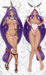 1girl :o animal_ears bangle bangs bare_legs bare_shoulders barefoot bed_sheet blanket blunt_bangs blush bracelet breasts breasts_apart breasts_outside bunny_ears censored closed_mouth clothes_lift competition_swimsuit covered_navel dakimakura dark_skin darkmaya earrings eyebrows_visible_through_hair facepaint fate/grand_order fate_(series) foreshortening from_above full_body groin hair_tubes hairband highres hoop_earrings jewelry knees_together_feet_apart lifted_by_self lips long_hair looking_at_viewer looking_up low-tied_long_hair lying medium_breasts medjed mosaic_censoring multiple_views navel necklace nipples nitocris_(fate/grand_order) nitocris_(swimsuit_assassin)_(fate) on_back one-piece_swimsuit open_mouth panties panty_pull pendant pulled_by_self pussy pussy_juice revealing_clothes sample sandals shiny shiny_skin skin_tight smile stomach strap_pull swimsuit swimsuit_aside thigh_gap toes two-tone_hairband underwear very_long_hair watermark white_swimsuit