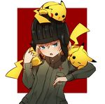 1girl animal animal_on_head animal_on_shoulder bangs blonde_hair blue_eyes commentary emblem fang girls_und_panzer green_jumpsuit helmet highres katyusha long_sleeves looking_at_another military military_uniform on_head open_mouth orihika outside_border pikachu pokemon pokemon_(creature) pravda_military_uniform red_background short_hair short_jumpsuit standing uniform upper_body