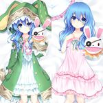 1girl animal_ears animal_hood arm_up bed_sheet blue_eyes breeze_(wcf) bunny_hood collarbone dakimakura date_a_live dress eyebrows_visible_through_hair fake_animal_ears from_above green_hair hair_between_eyes hood long_hair looking_at_viewer lying on_back pillow pink_dress pink_ribbon ribbon shiny shiny_skin sleeveless sleeveless_dress smile solo white_dress yoshino_(date_a_live) yoshinon
