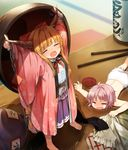 2girls =_= \o/ arms_up bangs barefoot bloomers blue_ribbon blurry blush bottle bow bowl broken chains chopsticks clothes_theft crying cup depth_of_field drunk eyebrows_visible_through_hair eyes_closed fang gourd highres holding holding_bowl horn_ribbon horns ibuki_suika japanese_clothes kimono long_hair long_sleeves lying minigirl multiple_girls needle ofuda on_stomach open_mouth orange_hair outstretched_arm outstretched_arms pink_hair pink_kimono purple_skirt pyramid reaching red_bow red_ribbon ribbon sakazuki sake_bottle shinoba shirt short_hair skirt spill sukuna_shinmyoumaru table theft topless touhou underwear wavy_mouth white_bloomers white_shirt wide_sleeves