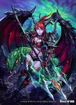 1girl armor armored_boots bat_wings boots breasts cleavage copyright_name demon_girl earrings fangs force_of_will gloves green_eyes jewelry long_hair midriff night night_sky official_art pointy_ears polearm ponytail purple_skin red_hair rock sky snake solo teeth trident weapon wings