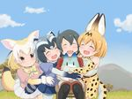 4girls :d ^_^ animal_ears bare_shoulders black_gloves black_hair black_legwear black_neckwear blonde_hair blue_skirt blue_sky bow bowtie brown_eyes chair cloud common_raccoon_(kemono_friends) day elbow_gloves eyes_closed fang fennec_(kemono_friends) fox_ears fox_tail gloves grass grey_hair group_hug hair_between_eyes happy highres hug kaban_(kemono_friends) kemono_friends lucky_beast_(kemono_friends) multicolored_hair multiple_girls nature open_mouth outdoors pantyhose pantyhose_under_shorts print_gloves print_neckwear print_skirt puffy_short_sleeves puffy_sleeves raccoon_ears raccoon_tail red_shirt serval_(kemono_friends) serval_ears serval_print serval_tail shirt short_hair short_sleeves shorts sitting skirt sky sleeveless sleeveless_shirt smile striped_tail sumemako tail tree white_hair white_shirt white_skirt yellow_neckwear