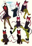1girl animal_ears arm_up black_dress braid brown_footwear cat_ears cat_tail chin_rest closed_mouth dress eyes_closed green_legwear high_heels highres kaenbyou_rin legs_crossed loftyanchor long_hair long_sleeves looking_at_viewer multiple_tails no_shoes one_eye_closed pantyhose red_eyes red_hair shoes short_dress simple_background sitting smile squatting standing tail touhou twin_braids two_tails very_long_hair white_background