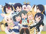 6+girls :d :o ;d ^_^ animal_ears bare_shoulders black_eyes black_gloves black_hair black_legwear black_neckwear blonde_hair blue_sky bow bowtie brown_eyes chair cloud common_raccoon_(kemono_friends) day elbow_gloves emperor_penguin_(kemono_friends) eyes_closed fang fennec_(kemono_friends) fox_ears fox_tail gentoo_penguin_(kemono_friends) gloves grass grey_hair grin group_hug hair_between_eyes happy headphones highres hug humboldt_penguin_(kemono_friends) kaban_(kemono_friends) kemono_friends lucky_beast_(kemono_friends) multicolored_hair multiple_girls nature one_eye_closed open_mouth outdoors pantyhose pantyhose_under_shorts penguins_performance_project_(kemono_friends) pink_hair print_gloves print_neckwear print_skirt puffy_short_sleeves puffy_sleeves purple_hair raccoon_ears raccoon_tail red_eyes red_hair red_shirt rockhopper_penguin_(kemono_friends) royal_penguin_(kemono_friends) serval_(kemono_friends) serval_ears serval_print serval_tail shirt short_hair short_sleeves shorts sitting skirt sky sleeveless sleeveless_shirt smile striped_tail sumemako tail tree white_hair white_shirt white_skirt yellow_neckwear