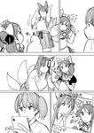 3girls akagi_(azur_lane) akagi_(azur_lane)_(cosplay) akagi_(kantai_collection) alternate_costume animal_ears apron artist_request azur_lane blush cellphone comic cosplay eyebrows_visible_through_hair eyes_closed fox_ears fox_tail frown greyscale hair_between_eyes hair_ribbon headdress highres holding holding_phone japanese_clothes kaga_(kantai_collection) kantai_collection kimono long_hair long_sleeves maid maid_apron maid_headdress monochrome multiple_girls paws phone phone_screen pointing ribbon sazanami_(kantai_collection) self_shot selfie_stick short_sleeves side_ponytail smartphone straight_hair sweatdrop tail translated twintails uniform v wide_sleeves