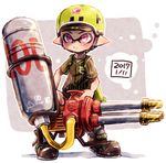1boy ankle_boots baseball_jersey black_footwear black_shirt boots dated domino_mask full_body grey_background harutarou_(orion_3boshi) hat helmet holding holding_weapon hydra_splatling_(splatoon) ink_tank_(splatoon) inkling inkling_(language) looking_at_viewer male_focus mask outside_border pointy_ears purple_eyes shirt splatoon splatoon_1 standing striped striped_shirt vertical-striped_shirt vertical_stripes weapon yellow_hat