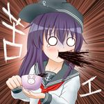 1girl akatsuki_(kantai_collection) amezuku anchor_symbol bangs black_hat coffee coffee_cup commentary_request cup eyebrows_visible_through_hair fingernails flat_cap hair_between_eyes hat holding holding_cup kantai_collection long_sleeves looking_away looking_to_the_side neckerchief o_o purple_hair red_neckerchief school_uniform serafuku shirt sideways_hat solo spit_take spitting sweat teardrop translation_request turn_pale white_shirt