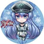 1girl akame_ga_kill! belt black_gloves blue_background blue_eyes blue_hair character_name chibi copyright_name esdeath full_body gloves hair_between_eyes hand_on_hip hat long_hair military military_uniform mushopea peaked_cap smile solo uniform very_long_hair