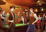1girl 5boys belt black_hair blonde_hair blue_pants breasts brown_hair brown_pants character_request cleavage collarbone dress_shirt eren_yeager green_eyes grey_shirt hand_in_pocket indoors legs_crossed levi_(shingeki_no_kyojin) long_skirt looking_at_viewer medium_breasts multiple_boys pants parted_lips petra_ral purple_shoes red_skirt shingeki_no_kyojin shirt shoes short_hair sitting skirt smile standing yappo_(point71)