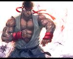 >:( arm_guards aura bare_shoulders belt black_belt boyaking brown_eyes brown_hair clenched_hand closed_mouth collarbone commentary_request dougi fighting_stance headband karate_gi letterboxed looking_to_the_side male_focus muscle ryuu_(street_fighter) serious simple_background spiked_hair street_fighter thick_eyebrows upper_body white_background