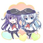 2girls :o ;d akatsuki_(kantai_collection) anchor_symbol bangs black_hat black_legwear black_skirt blue_eyes blush chibi commentary_request eyebrows_visible_through_hair flat_cap hair_between_eyes hat hibiki_(kantai_collection) kantai_collection kashiwadokoro long_hair long_sleeves looking_at_viewer lowres multiple_girls neckerchief no_shoes one_eye_closed open_mouth pantyhose parted_lips pleated_skirt purple_eyes purple_hair red_neckerchief school_uniform serafuku shirt sideways_hat silver_hair skirt smile standing standing_on_one_leg thighhighs very_long_hair white_shirt