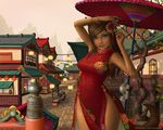 1girl animal_ears architecture arms_up blue_eyes bracelet breasts brown_hair cat_ears cat_tail china_dress chinese_clothes dark_skin dress east_asian_architecture final_fantasy final_fantasy_xiv hair_ornament jewelry lips long_hair looking_at_viewer medium_breasts miqo'te oriental_umbrella outdoors slit_pupils smile solo tail umbrella veralde watermark web_address