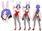 1girl animal_ears ass bare_shoulders breasts bunny_ears bunny_tail bunnysuit card character_sheet cleavage commentary concept_art detached_collar earrings female full_body high_heels highres holding jewelry leotard looking_at_viewer lovina_(taimanin_asagi_battle_arena) medium_breasts multiple_views pantyhose short_hair simple_background solo standing strapless strapless_leotard tail taimanin_(series) taimanin_asagi_battle_arena turnaround white_background wrist_cuffs zol