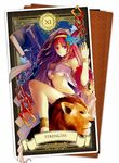1girl anklet blue_flower bracelet breasts chains cleavage flower hair_flower hair_ornament hairband jewelry lion long_hair looking_at_viewer magi_the_labyrinth_of_magic medium_breasts midriff morgiana necomi red_eyes red_hair sitting solo stomach strength_(tarot_card) underboob