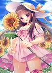 1girl :d bangs bare_shoulders blue_sky blush brown_hair cloud cloudy_sky collarbone commentary_request cowboy_shot day dress eyebrows_visible_through_hair fang field flower flower_field frilled_sleeves frills fujikura_ryuune hat hat_ribbon head_tilt holding holding_flower leg_ribbon long_hair off-shoulder_dress off_shoulder open_mouth original outdoors panties pantyshot pantyshot_(standing) pink_dress pink_ribbon puffy_short_sleeves puffy_sleeves red_eyes ribbon short_dress short_sleeves sidelocks sky smile solo standing strapless strapless_dress sun_hat sunflower tareme underwear v white_hat white_panties yellow_ribbon