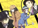 2boys 2girls black_bow black_hair black_hat black_jacket black_neckwear blue_hat blue_legwear blue_shorts bow bowtie brown_cloak brown_hair brown_hat brown_legwear brown_shirt brown_skirt capelet chitanda_eru fukube_satoshi gloves grey_bow grey_bowtie hair_between_eyes hat holding hyouka ibara_mayaka jacket kimi_ni_matsuwaru_mystery leaning_forward long_hair miniskirt monocle multiple_boys multiple_girls necktie official_style open_clothes open_jacket open_mouth oreki_houtarou pleated_skirt purple_eyes purple_necktie red_eyes rito453 shirt short_hair short_shorts shorts skirt thighhighs white_gloves white_shirt yellow_background