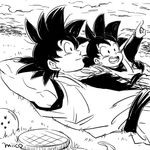 2boys arms_behind_head artist_name black_eyes black_hair cloud dougi dragon_ball dragon_ball_(object) dragonball_z father_and_son grass happy looking_up lying male_focus miiko_(drops7) monochrome multiple_boys on_back open_mouth pointing radar short_hair sky smile son_gokuu son_goten spiked_hair
