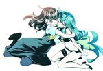 2girls aqua_hair black_bra black_hair black_panties bow bra breasts fetishist flat_chest floating_hair frilled_bra frilled_panties frills full_body gatchaman_crowds green_bow green_eyes groin high_heels hug ichinose_hajime long_hair midriff multiple_girls navel one_eye_closed panties parted_lips simple_background small_breasts smile stomach thigh_strap underwear underwear_only utsutsu very_long_hair white_background yellow_eyes